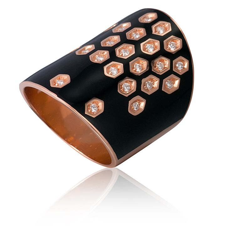 7530APKBK. Buy Gourji Architect's House ring, gold, diamonds, enamel in the online store of men's accessories and luxury gifts Gourji.ru